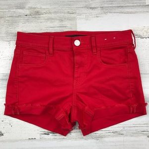 Express Red Shorts Shortie Mid Rise Size 2